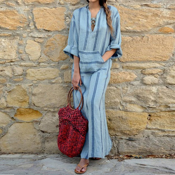 Celmia Women Vintage Long Sleeve Maxi Dress Sexy V Neck Casual Pockets Loose Striped Linen Shirt Vestido Plus Size-JetSet-JetSet