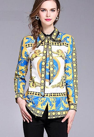2018 gold animal Print Self Tie Bow Satin Blouse Women Long Sleeve Tunic Blouse summer Autumn 2018 Elegant Work Wear Blouse-JetSet-JetSet