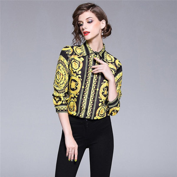 Vintage Blouse Ladies Office Shirts Womens Tops And Blouses Runway Designer Tops High Quality Women Fashion 2018 Blusas Mujer-JetSet-JetSet