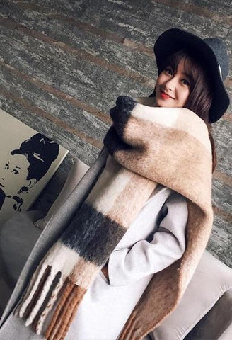 New arrival autumn winter women girls double sides wild soft temperament thick scarf fresh wool comfortable trend warm big scarf-JetSet-JetSet