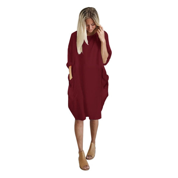 Womens dresses Pocket Loose Dress Ladies Crew Neck Casual Long girl Tops Dress female fashion big vestido-JetSet-JetSet