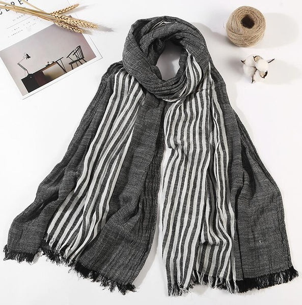 100% Cotton Scarf Men High Quality Long Fashion Blue Black Color Striped Scarf Luxury Warm Autumn And Winter Scarves Men Scarf-JetSet-JetSet