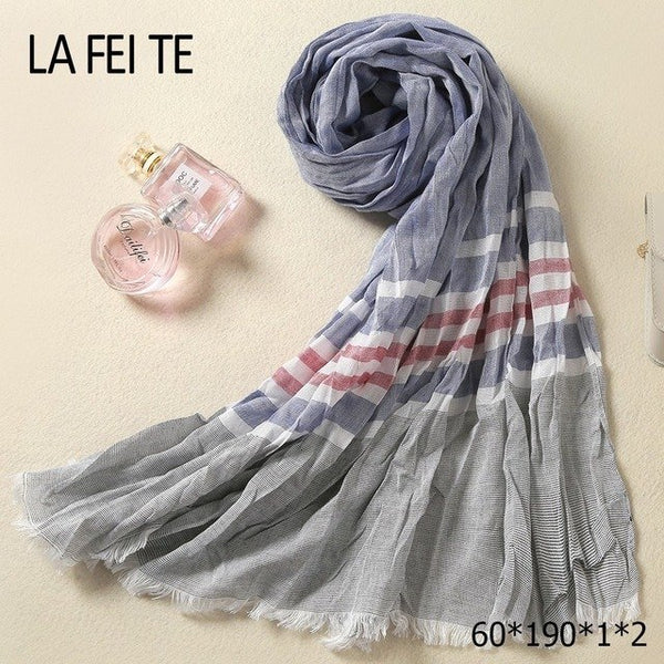 Luxury Designer Long Cotton Scarf Men Foulard Femme Neckerchief Neck Stole Viscose Crinkle Hijab Scarf Male Women Kerchief-JetSet-JetSet