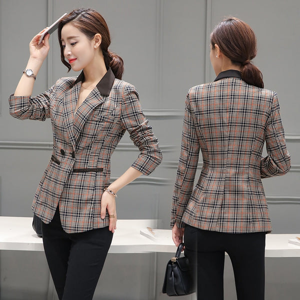 New Women's Plaid Split Roll Up Sleeve Double Breasted Patchwork Blazer Office Lady Elegant Fashion Tops M-3XL Plus Size-JetSet-JetSet