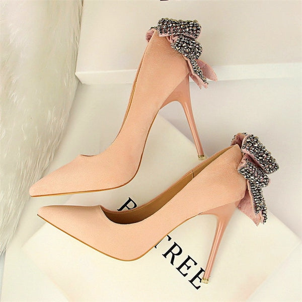 Women's Elegant Crystal Butterfly-knot Shallow Wedding Shoes Korean Fashion Women Pumps Solid Flock Pointed Toe High Heels Shoes-JetSet-JetSet
