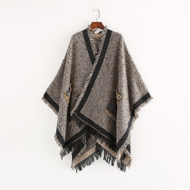 Top Quality Guarantee Oversized Leopard Print Women Winter Warm Knitted Cashmere Poncho Capes Shawl Cardigans Sweater Coat-JetSet-JetSet