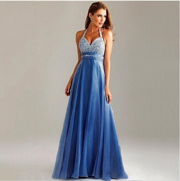 Europe Women Dress Blue S-XL Mesh Sequined Halter Dress Sexy Body Fashion Slim Long Dress Gala Events Hosted Dress #682768