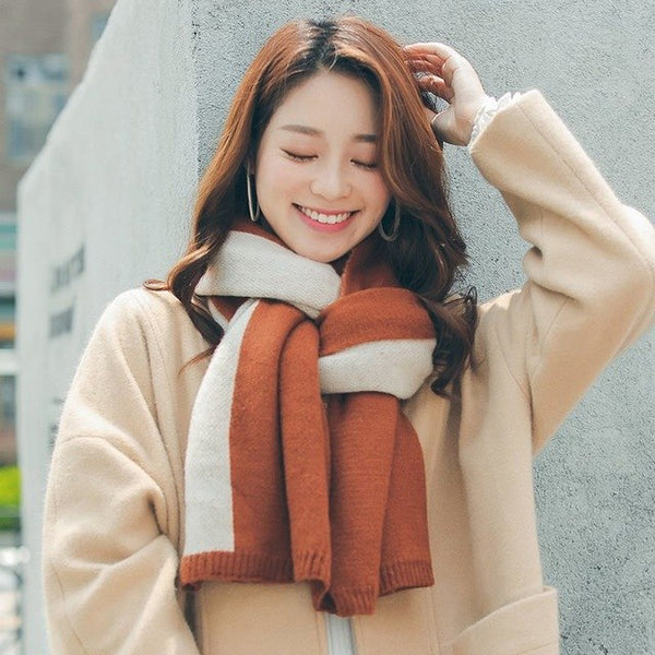 Fashion Sweet Imitation Cashmere Long Knitted Scarf Women Korean Street Hot Winter Thick Warm Soft Color Block Rectangle Scarves-JetSet-JetSet