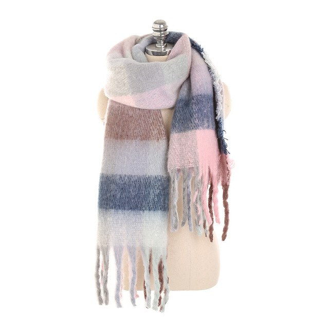 2018 New Fashion Long Scarf Shawl Female Autumn and Winter New Color Mixed Wild Warm Thick Fringed Scarf Blanket Wraps-JetSet-JetSet