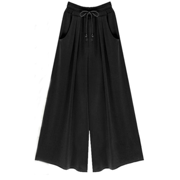 Woman Wide Leg Pants Loose Drawstring Casual Ankle-Length Pockets Female Trousers Summer Hipster Harem Pants Ladies Plus Size-JetSet-JetSet