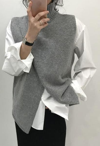 Korean Fashion Overlap Sleeveless Sweater Vest Sweaters Fashion Women Turtleneck Sweater Jumper Knitted Pullover Sweater-JetSet-JetSet