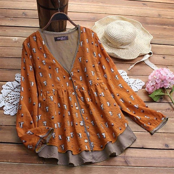 Retro Women Blouses Female V Neck Long Sleeve Cartoon Print Chemise Blusas Vintage Button Down Shirt Patchwork Tops Plus Size-JetSet-JetSet