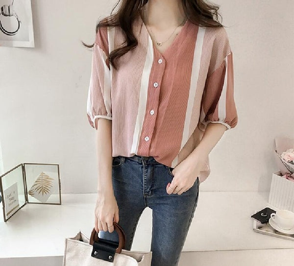 M-4XL Chiffon Blouse 2018 Women New Summer Shirt Colorful Striped Short Sleeve Tops Ladies Female Plus Size Blusas Mujer F0136-JetSet-JetSet