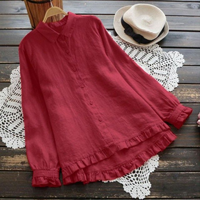 2019 ZANZEA Spring Women Blouse Elegant Lapel Ruffled Shirt Casual Tops Cotton Work OL Shirts Lantern Sleeve Blusas Plus Size-JetSet-JetSet