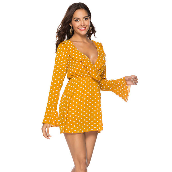 GOPLUS New Ruffles Chiffon Flare Sleeve Dress Female Party Night Club Dresses 2019 Spring And Autumn V-Neck Polka-Dot Dress-JetSet-JetSet