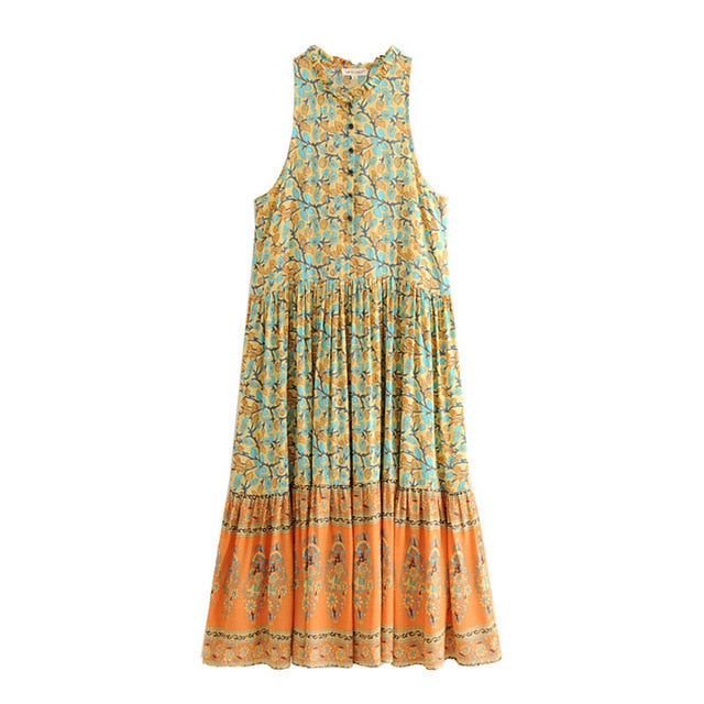 Boho Chic Summer Vintage Floral Print Pleated Midi Dress Women 2019 Fashion O Neck Sleeveless Beach Dresses Femme Vestidos-JetSet-JetSet