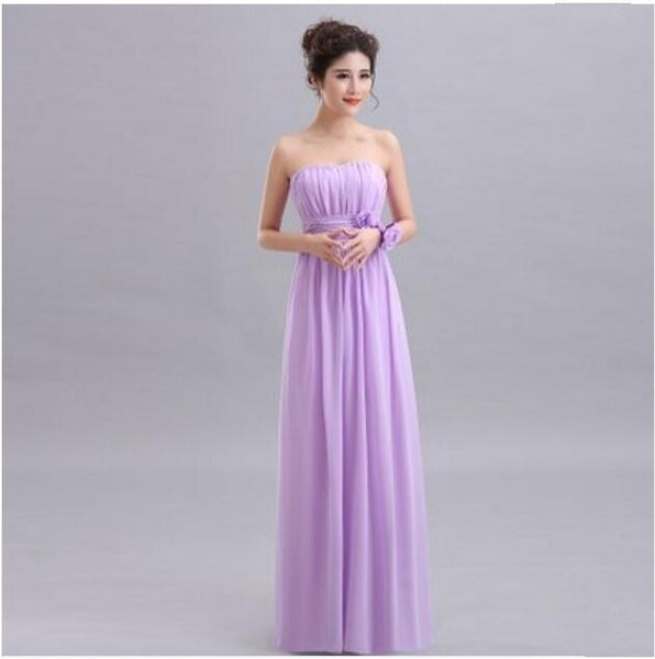 Beauty-Emily Cheap Long Chiffon Blush Pink Bridesmaid Dresses 2019 A-Line Vestido De Festa De Casamen Formal Party Prom Dresses-JetSet-JetSet