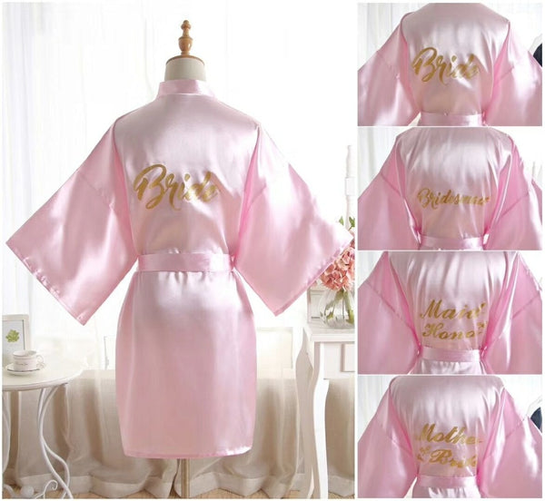 Gold Bridesmaid robes Sleepwear Robe Wedding Bride Bridesmaid Robes Pyjama Robe Female nightwear Bathrobe Nightdress Nightgown-JetSet-JetSet