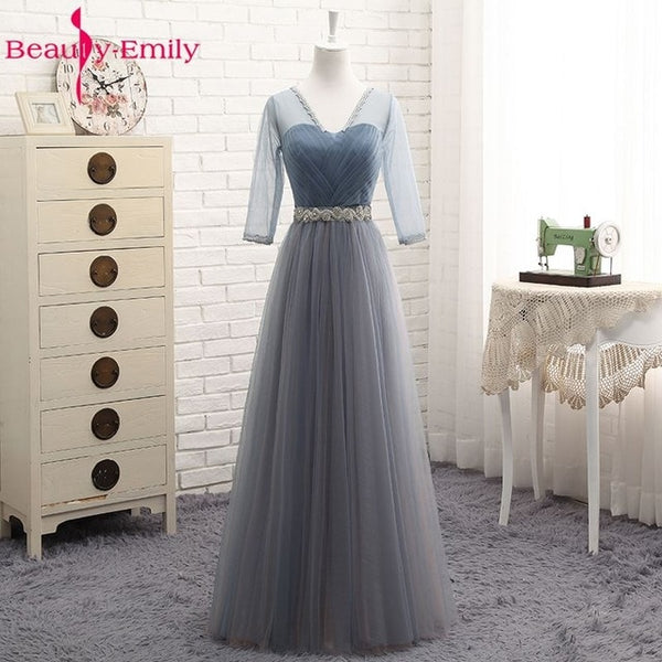 Beauty Emily High Quality Tulle Long Short Bridesmaid Dresses 2019 Formal A-line Vintage Party Prom Dresses Off the Shoulder-JetSet-JetSet