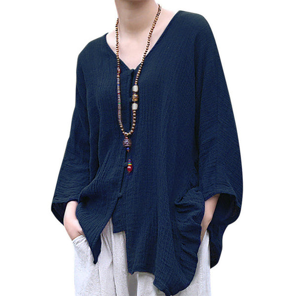2019 ZANZEA Spring Open Stich Long Sleeve Shirt Vintage Cotton Linen Loose Blouse Women Casual Solid O Neck Button Work Tops-JetSet-JetSet
