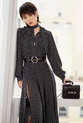 New 2019 Spring Summer Long Dress High Quality Women Turn-down Collar Lace Patchwork Polka Dot Print Vintage Maxi Dress Clubwear-JetSet-JetSet