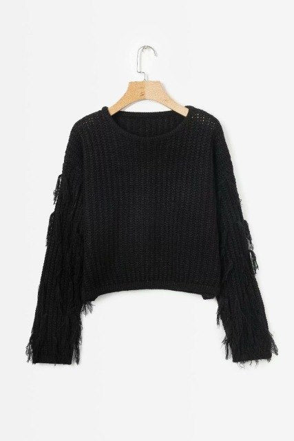 [EWQ] 2019 Spring Fashion New Style Long Sleeve Round Collar Tassel Patchwork Knitting Pullvoers High Waist Sweater Women AC941-JetSet-JetSet