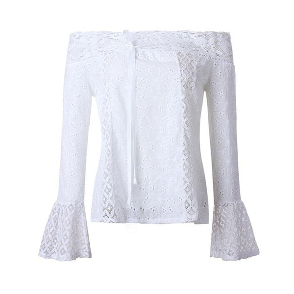 Feitong 2019 New Off Shoulder white Lace Blouse Women Top Hollow Out Casual Shirts Sexy Blusas Boho Beach Tops camisas femininas-JetSet-JetSet