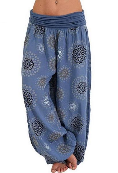 LOOZYKIT Women Bohemian Long Pants 2019 Low Waist Vintage Print Harem Pants Elastic Waist Boho Beach Trousers Plus Size 5XL-JetSet-JetSet