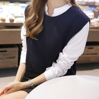 FRSEUCAG 2019The new cashmere vest opened back knitted vest woman round neck loose jacket sweater coat waistcoat-JetSet-JetSet