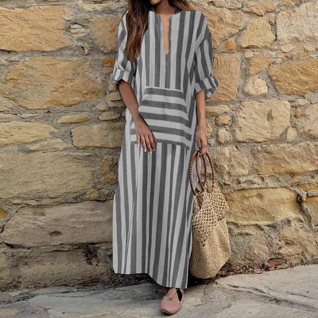2019 ZANZEA Plus Size Striped Maxi Dress Women Casual Long Vestidos Vintage Female Long Sleeve Dresses Sexy V Neck Sundress-JetSet-JetSet