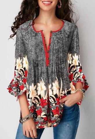 WEPBEL Women Fashion Blouse Ladies 3/4 Long Sleeve Flower Printed Tunic Casual Tops Loose Blouse-JetSet-JetSet
