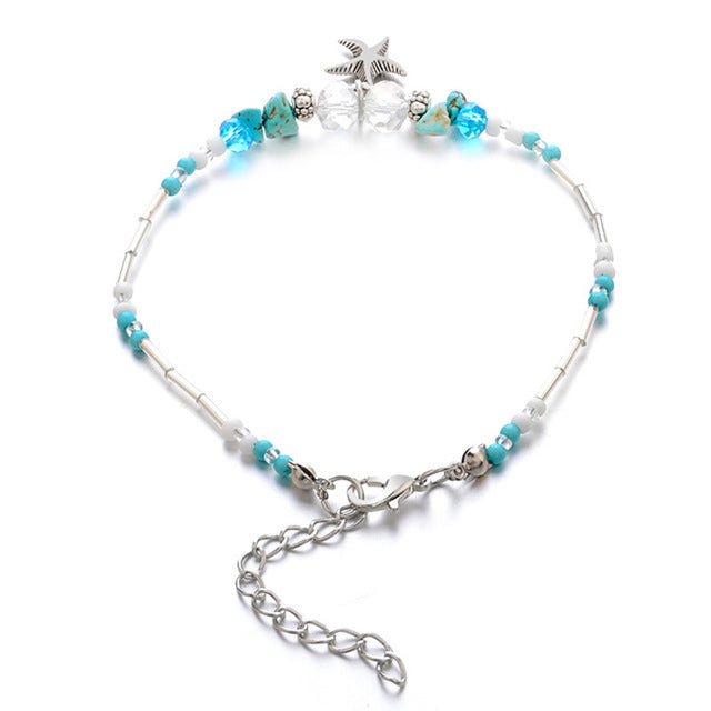 Bohemian Starfish Beads Stone Anklets for Women BOHO Silver Color Chain Bracelet on Leg Beach Ankle Jewelry 2019 NEW Gifts-JetSet-JetSet