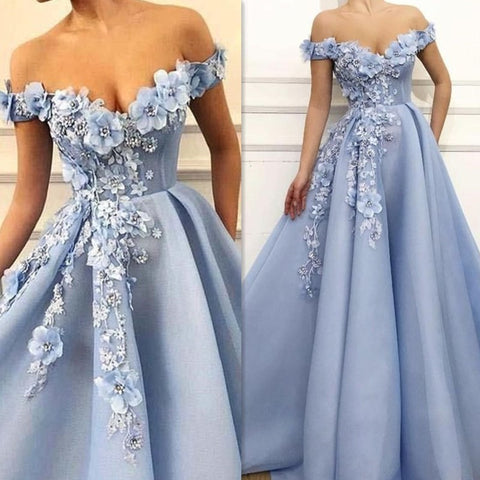 Fantasy 3D Flowers Princess V-neck A-line Prom Dress with Beading Lace-up Back Floor Length Party Dress Evening Dress