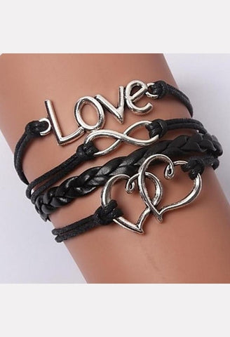 Multilayer Mutual Affinity Alloy Charms Handmade Leather Bracelet-LIB-JetSet