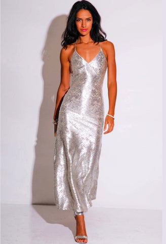 LIGHT SILVER METALLIC BAROQUE PRINT EMBELLISHED BACKLESS FORMAL EVENING MAXI DRESS-WSF-JetSet