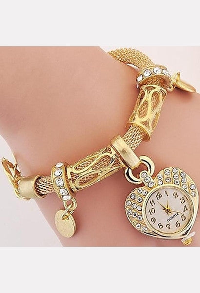 New Fashion Luxury Crystal Heart Gold Bracelet Clock Wristwatch Quartz Watch Electronics Women Casual Dress Watches-LIB-JetSet