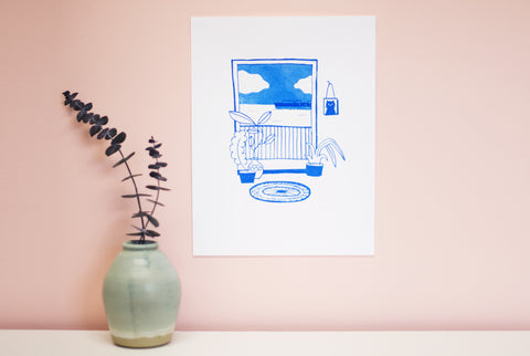 Tiny Tropics silkscreen print seascape view apartment