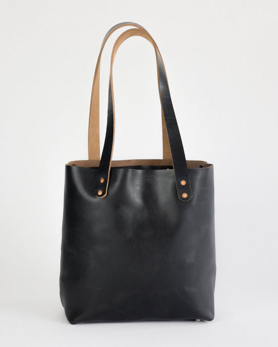 Leather Tote Bag in Horween Black Chromexcel