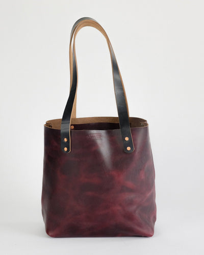 Leather Tote Bag in Horween Burgundy Chromexcel