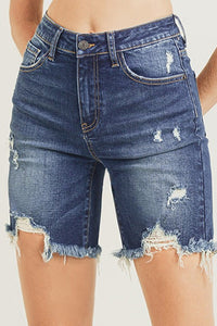 Dark Distressed High-Rise Shorts