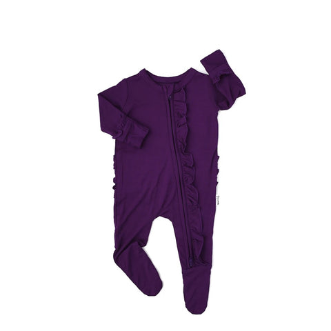 Audrey Plum Newborn Footed Ruffle Zip