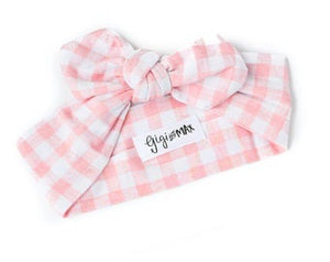 Addison Pink Gingham Topknot Headband