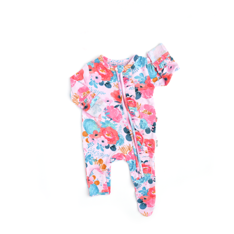 Phoenix Floral Newborn Footed Ruffle Zip