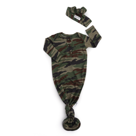 Camo Knotted Button Gown