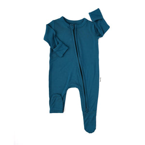 Jude Teal Newborn Footed Zip