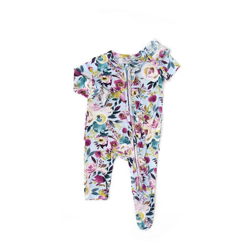Annie Floral Newborn Footed Ruffle Zip