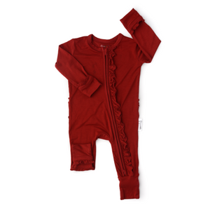 Sawyer Ruffle Red Zip One Piece