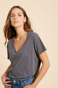 Cotton Basic V-Neck Tee