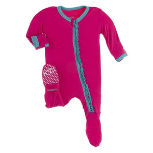 Prickly Pear w/ Neptune Zipper Ruffle Footie