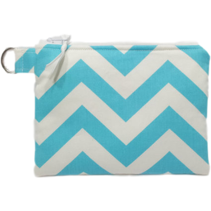Blue and White Chevron Wipes pouch or Cosmetic Pouch - CountingtheBlessings